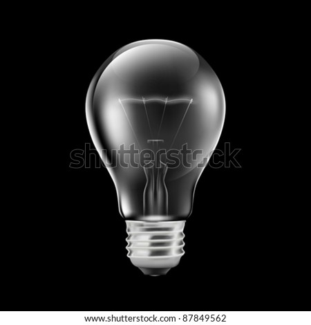 Realistic light bulb isolated on black (EPS10)