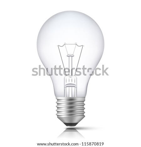 Realistic Light Bulb isolated on white. Vector Illustration