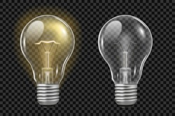 Realistic light bulb on transparent. Glowing and turned off electric filament lamps. Template creativity idea business innovation. Vector illustration.