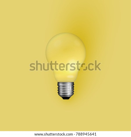 Realistic light bulb on yellow background, vector illustration - Shutterstock ID 788945641