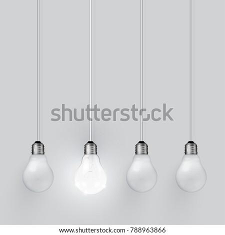 Realistic light bulbs on grey background, vector illustration