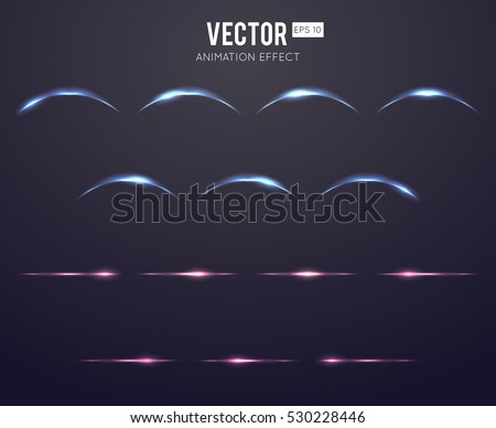 Realistic light effect lens flare animation frames set for games. Vector illustration. Light curve and straight colorful, neon element light
