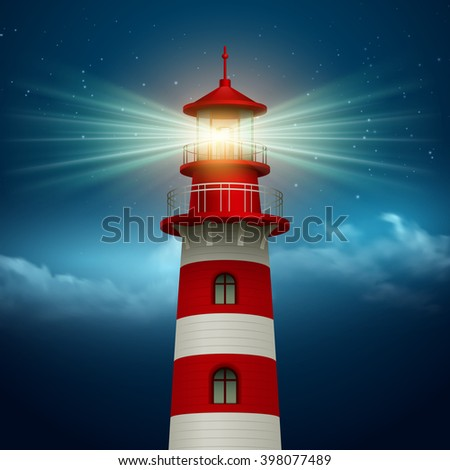 realistic lighthouse  in the