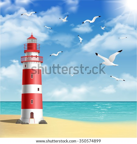 realistic lighthouse on the