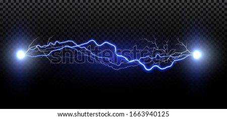 Realistic lightning. Thunder spark light on transparent background. Illuminated realistic path of thunder and many sparks. Bright curved line