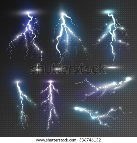 realistic lightnings set with