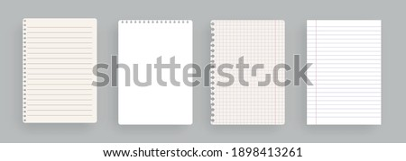 Realistic lined notepapers.Set of torn sheet of paper from a workbook with shadow, isolated. Illustrations of a torn sheet paper.Vector pads paper sheets with lines and squares for memo. Vector illust Stock photo ©