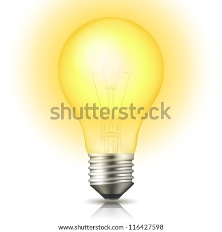 Realistic lit light bulb isolated on white. Vector Illustration