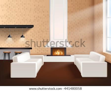 realistic loft interior in