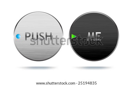 Realistic-looking metal buttons with brushed surface (vector, lots of detail!).