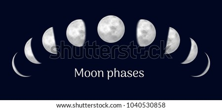 Realistic lunar calendar contains all months. Scheduler with moon. Gradual lunar eclipse, presentation of species of earth satellite. Vector illustration of space event