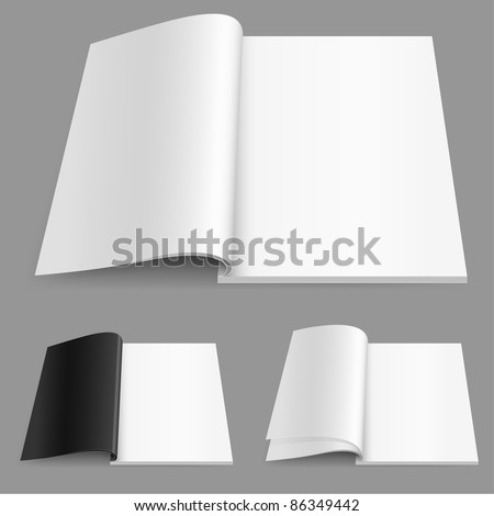 Realistic magazine set number two. Illustration on white background for design. - stock vector