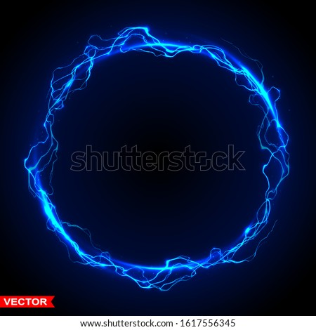 Realistic magic circle of thunder storm blue lightnings. Magic and bright lighting effects. On dark blue background. Layered vector.