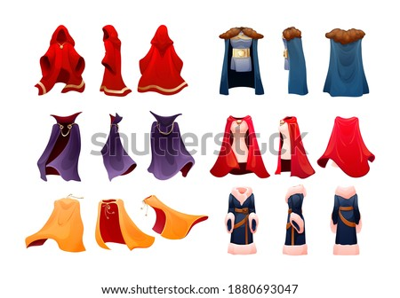Realistic magic red cape of cloak costume, Dracula vampire carnival costume, women superhero, military leader, princely commander. Carnival medieval king cloak. Clothing front back behind view vector Stock photo ©