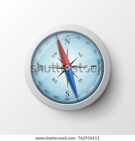 Realistic magnetic compass isolated on white background. Tool for navigation and orientation, finding cardinal directions, routes or points, tourism and adventure travel. Modern vector illustration.