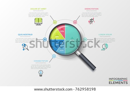 Realistic magnifier with circular chart inside divided into 5 multicolored parts with letters and percents, text boxes. Concept of percentage analysis. Vector illustration for statistical report.