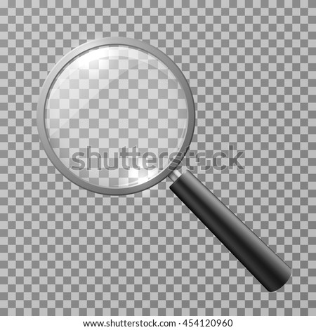 Realistic magnifying glass isolated on checkered background vector illustration. Magnifying glass object for zoom and tool with lens for magnifying