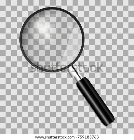realistic magnifying glass on a transparent background