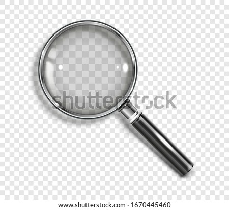 realistic magnifying glass with