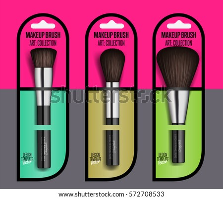 Realistic makeup brush set isolated vector illustration. Facial cosmetic 3D object collection. Fashion and beauty professional makeup artist brush in package, decorative cosmetic concealer powder tool