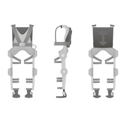 Realistic medical exoskeleton. Exosuit. Three view Vector illustration