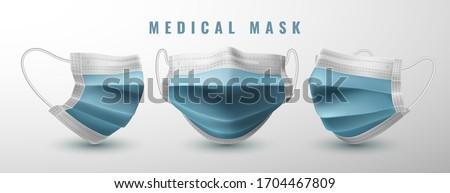 Realistic medical face mask. Details 3d medical mask. Vector illustration.