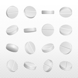 Realistic medical pills isolated on white background.