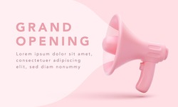 Realistic megaphone with pink bubble for social media marketing concept. Announce for marketing. Vector illustration