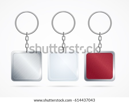 Realistic Metal and Plastic Keychains Set Square Designs Web Element. Vector illustration