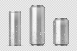 Realistic metal cans. Aluminum bear soda and lemonade cans with water drops, energy drink blank mockup. Vector isolated set canned beverages with water condensation on transparent background