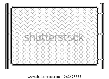 Realistic metal chain link fence. Art design gate. Prison barrier, secured property.  The chain link of fence wire mesh steel metal. Rabitz.