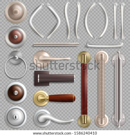 Realistic metal door handles, knobs and locks, vector illustration isolated on transparent background.