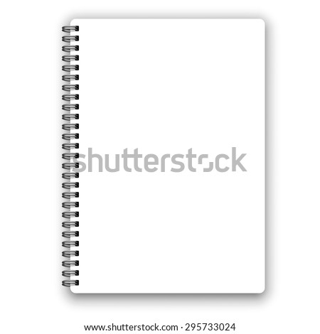 Realistic metal spiral vector blank notebook isolated on white