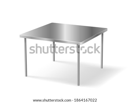 Realistic metal table 3d object rectangular isolated on white background. Shining metallic table detailed with shadow for design. Vector illustration