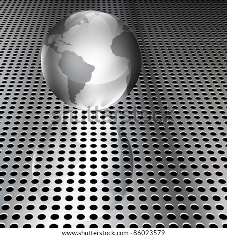 Realistic metallic globe on chrome grid (EPS10 - Gradient, Transparency, Mesh)