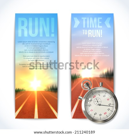 Realistic metallic stopwatch time to run sport vertical banners set isolated vector illustration