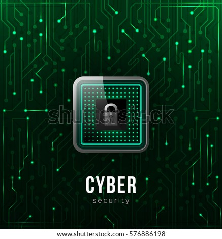 Realistic microchip on the green background of elements of the microchip, cyber security concept. Vector Illustration.