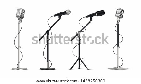 Realistic microphones. 3D professional metal mics with wire on holder, stand-up and blogging equipment. Vector vintage silver and black singer mic set