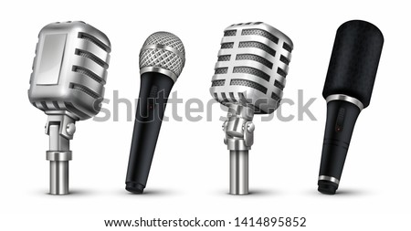 Realistic microphones. 3D studio and scene audio equipment, vintage and modern metal mics isolated on white. Vector design blog recording metal objects