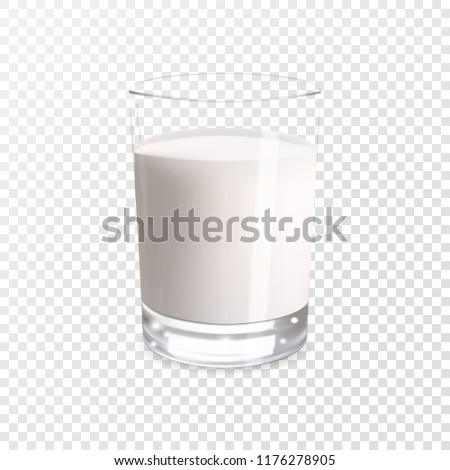 Realistic milk in a glass. Protein rich dairy product. Transparent photo realistic vector illustration.