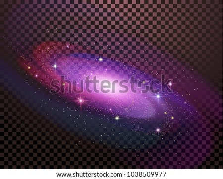 Realistic milky way spiral galaxy with stars isolated on transparent background. Bright blue yellow and red stars with space galaxy star dust. Can be used on flyers banners, web and other projects.