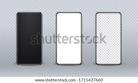 Realistic mobile phone mockup. Device set with modern thin frame and blank screen on transparent backgtound. 3d Smartphone mockup for show your app design. Front view of cellular display.