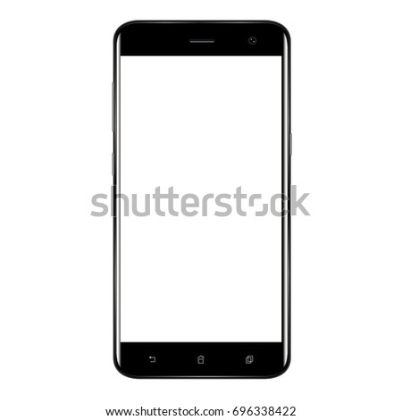 Realistic mobile phone smart phone with blank screen isolated on white background. Vector illustration for printing and web element. Game and application mock up.