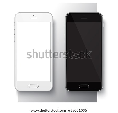 Realistic Mobile Phone with a rectangular button with rounded corners