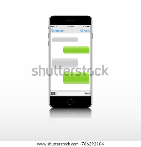 Realistic mobile phone with message text box screen chat bubble. Empty messaging bubles. Set smartphone conversation dialog.
