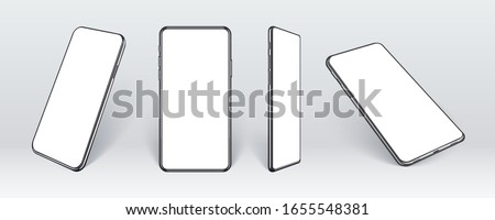 Realistic mobile phones in different angles isolated, Perspective view cell gadget with empty screen for showing ui ux app design or website.