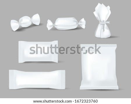 Realistic mockups of candy wrappers on grey background. Sweet, biscuit, wafer, cracker, and chocolate bar, candy bar or snacks package set ready for branding. White sweetmeat pack vector illustration. Foto stock ©