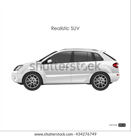 realistic model of suv on white