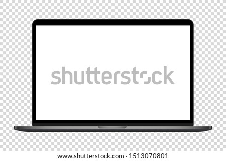 realistic modern computer laptop blank screen vector illustration