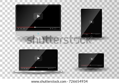 Realistic modern digital devices isolated on transparent background. Video player template. Vector illustration
